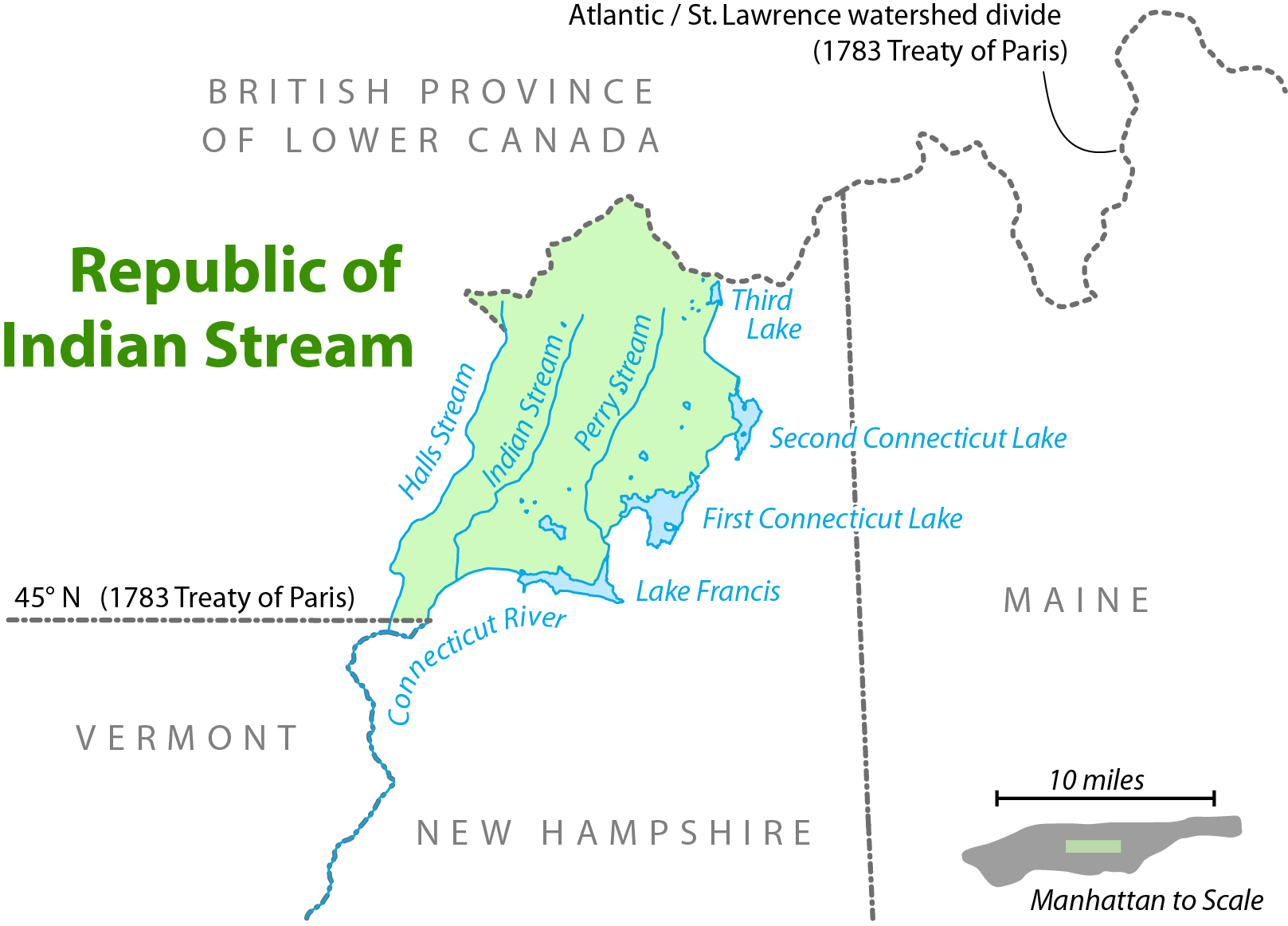 Map showing the location of the Republic of Indian Stream.