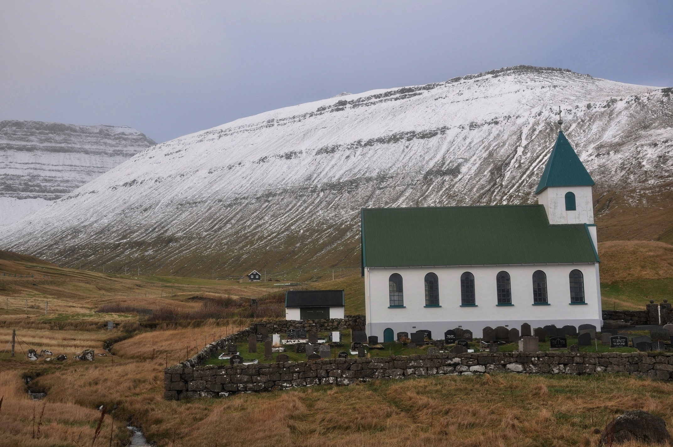 The church and cemetery of Gjógv (Eysturoy, Faroe Islands, Denmark. Photo taken on October 22, 2010.