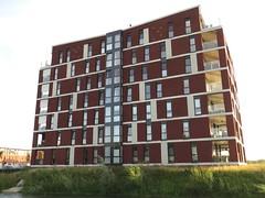 Het appartementencomplex met 10 neststenen voor Gierzwaluwen