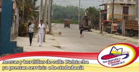 Aceras y bordillos de calle Pichincha ya prestan servicio a la ciudadanía