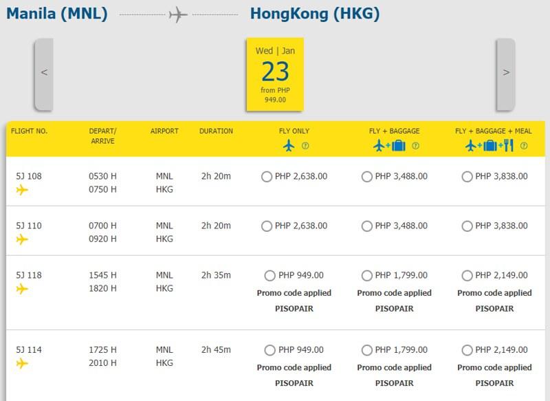 Cebu Pacific Piso Pair Manila to Hong Kong