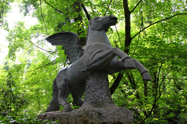 pegasus statue in forest