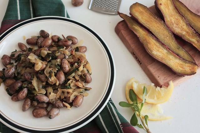 feijão catarino (fresco) com beldroegas
