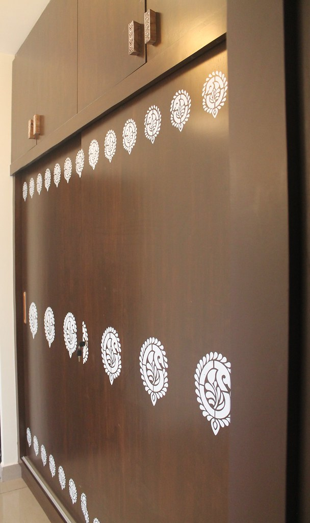 Fabric printing paisley blocks on wardrobe panels