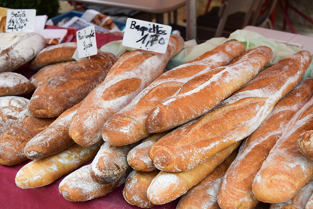 French Baguettes at Sarlat Market, South West France #bread #baguette #sarlat #market #farmersmarket #france #dordogne