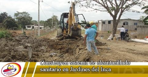 Construyen sistema de alcantarillado sanitario en Jardines del Inca