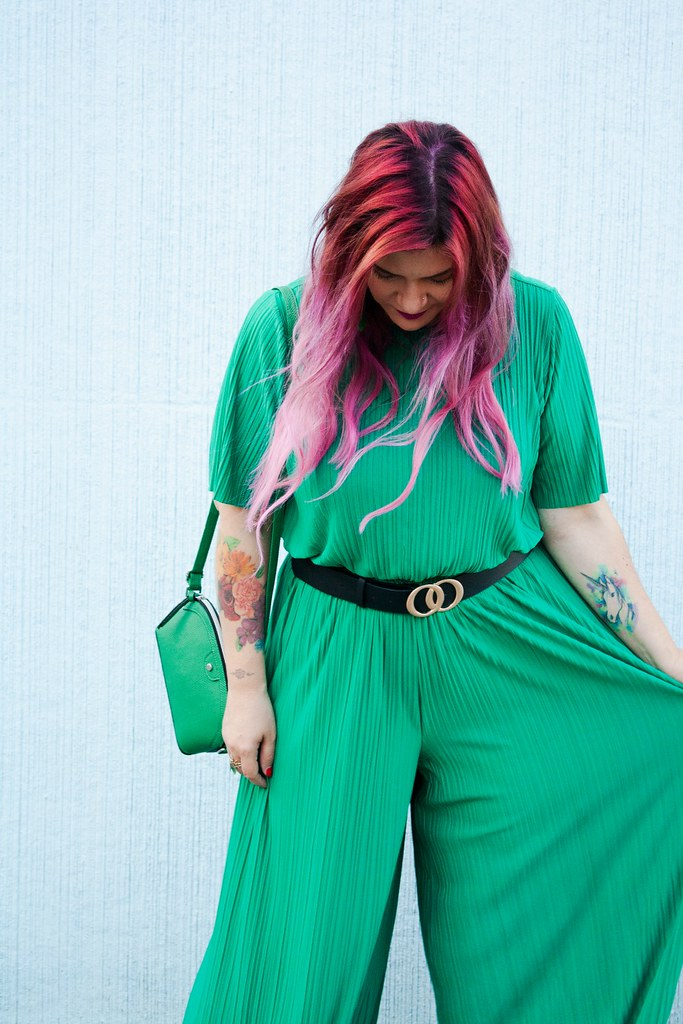 Outfit plus size tuta monki verde e blaze bianco (9)