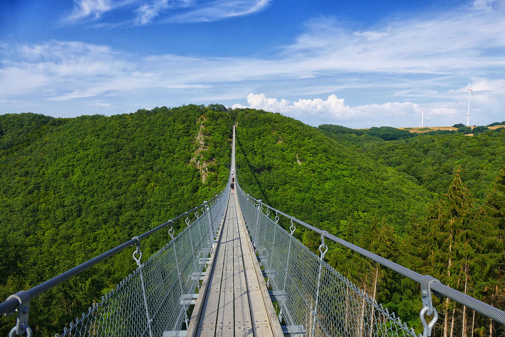 Walking the Geierlay Bridge