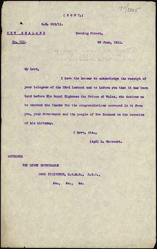 <p>On June 30 1911, Downing Street wrote to the Governor to relay a message of thanks from the Prince of Wales (later George V). He was thankful for the birthday wishes the New Zealand government had sent him earlier in the month. The Prince of Wales (George V) was born on June 3 1865 and died on 20 January 1936.<br /> <br /> This piece of correspondence is from the Department of Internal Affairs. The annual single number files sequence from the Department is being digitised by Archives New Zealand, starting with the most recent material. Correspondence from 1913 down to 1911 is now available online via Archway in series 8333.<br /> <br /> Archives New Zealand Reference: ACGO 8333 IA1 1166 1911/2205<br /> <br /> For further enquiries email research.archives@dia.govt.nz <br /> <br /> Material from Archives New Zealand Te Rua Mahara o te Kāwanatanga</p>