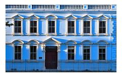 The blue facade