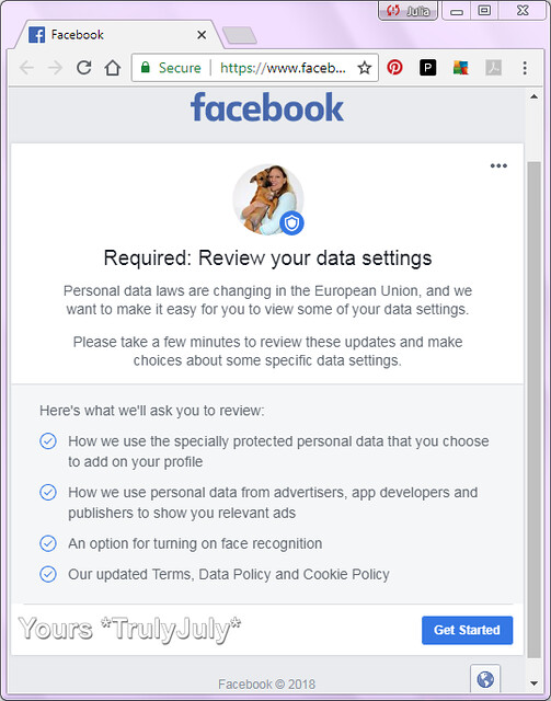 Facebook asks me to review my data settings a good 3 weeks late.