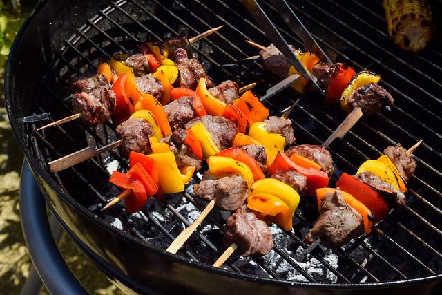 Grilling Steak Skewers #barbecue #grilling #steak #skewers #kabobs #chimichurri