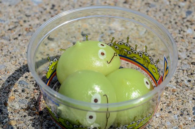 Green alien snacks TDS