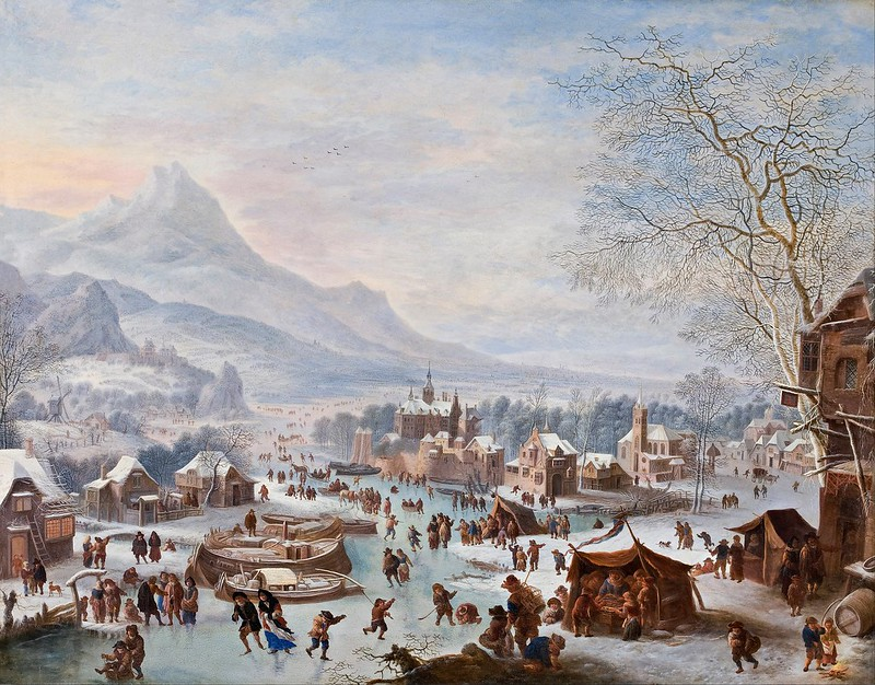Jan Griffier - Winter Scene with Skaters