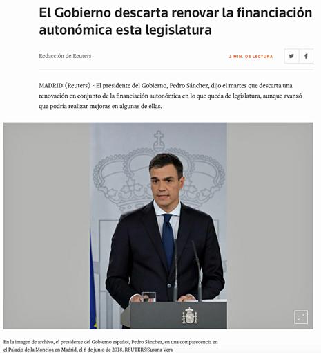 18f20 El Gobierno descarta renovar la financiación autonómica esta legislatura Uti 465