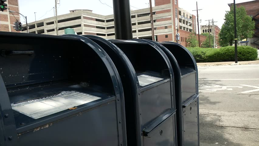 Modern curbside mail boxes.