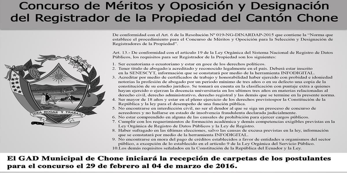 Concurso de Méritos y Oposición y Designación del Registrador de la Propiedad del Cantón Chone