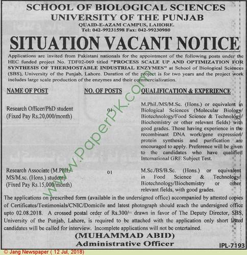 University Of The Punjab Lahore School Of Biological Sciences Jobs