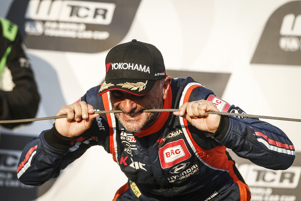 TARQUINI Gabriele, (ita), Hyundai i30 N TCR team BRC Racing, portrait podium ambiance during the 2018 FIA WTCR World Touring Car cup race of Slovakia at Slovakia Ring, from july 13 to 15 - Photo François Flamand / DPPI.