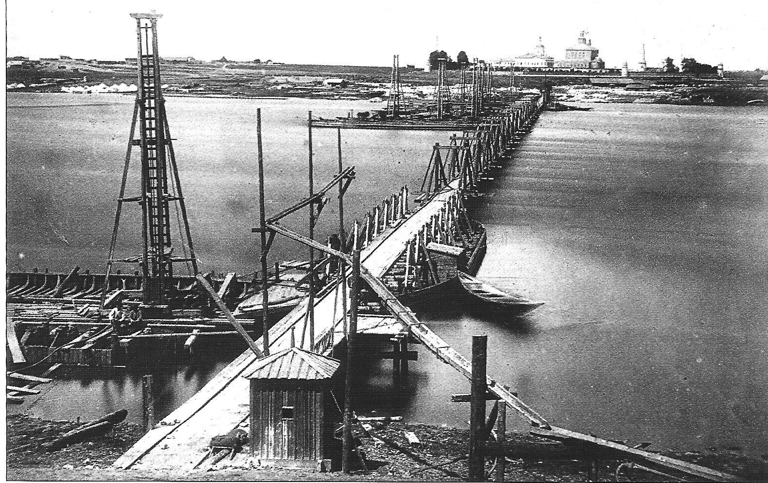 1863-1864. Сооружение железнодорожного моста через Оку Московско-Саратовской железной дороги