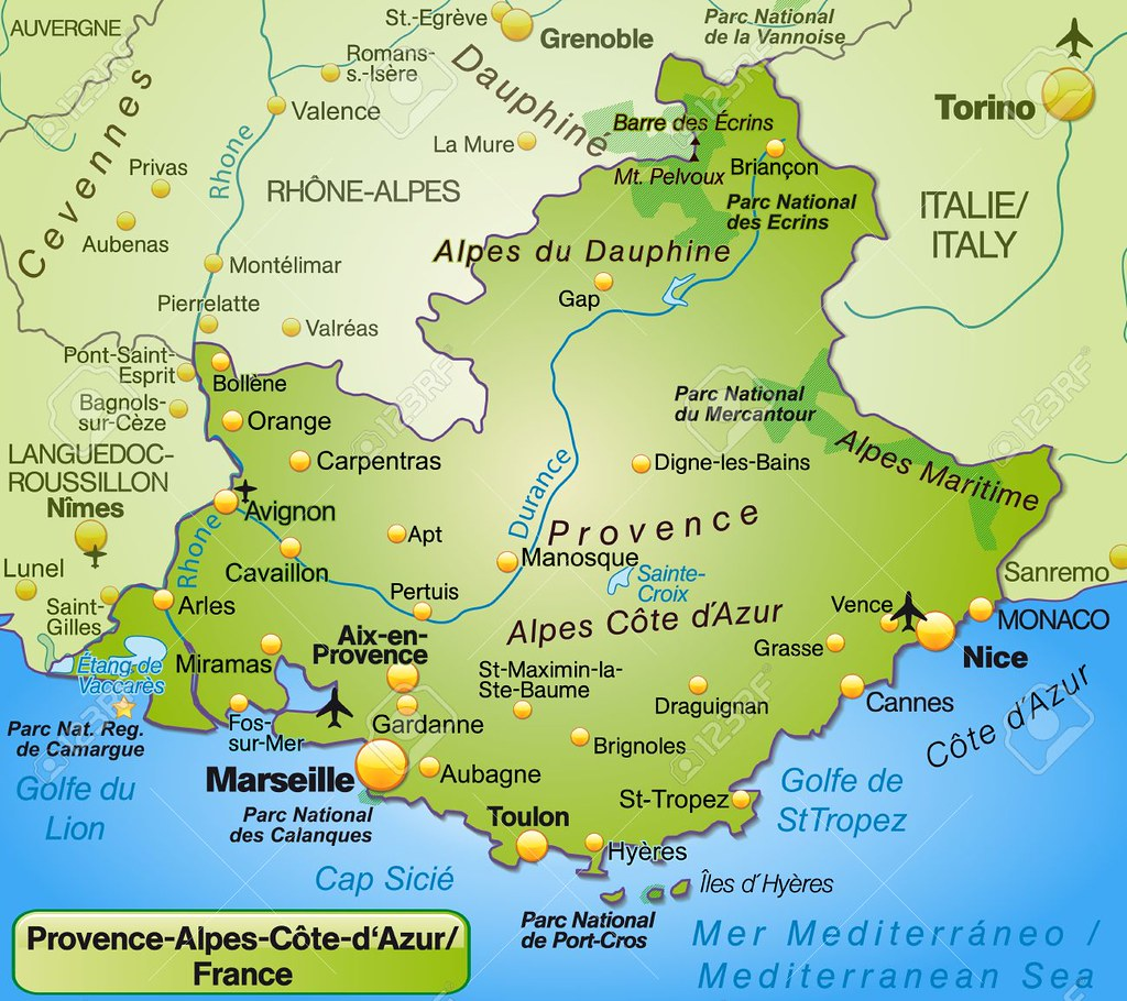 Map of Provence-Alpes-Cote d Azur as an overview map in green