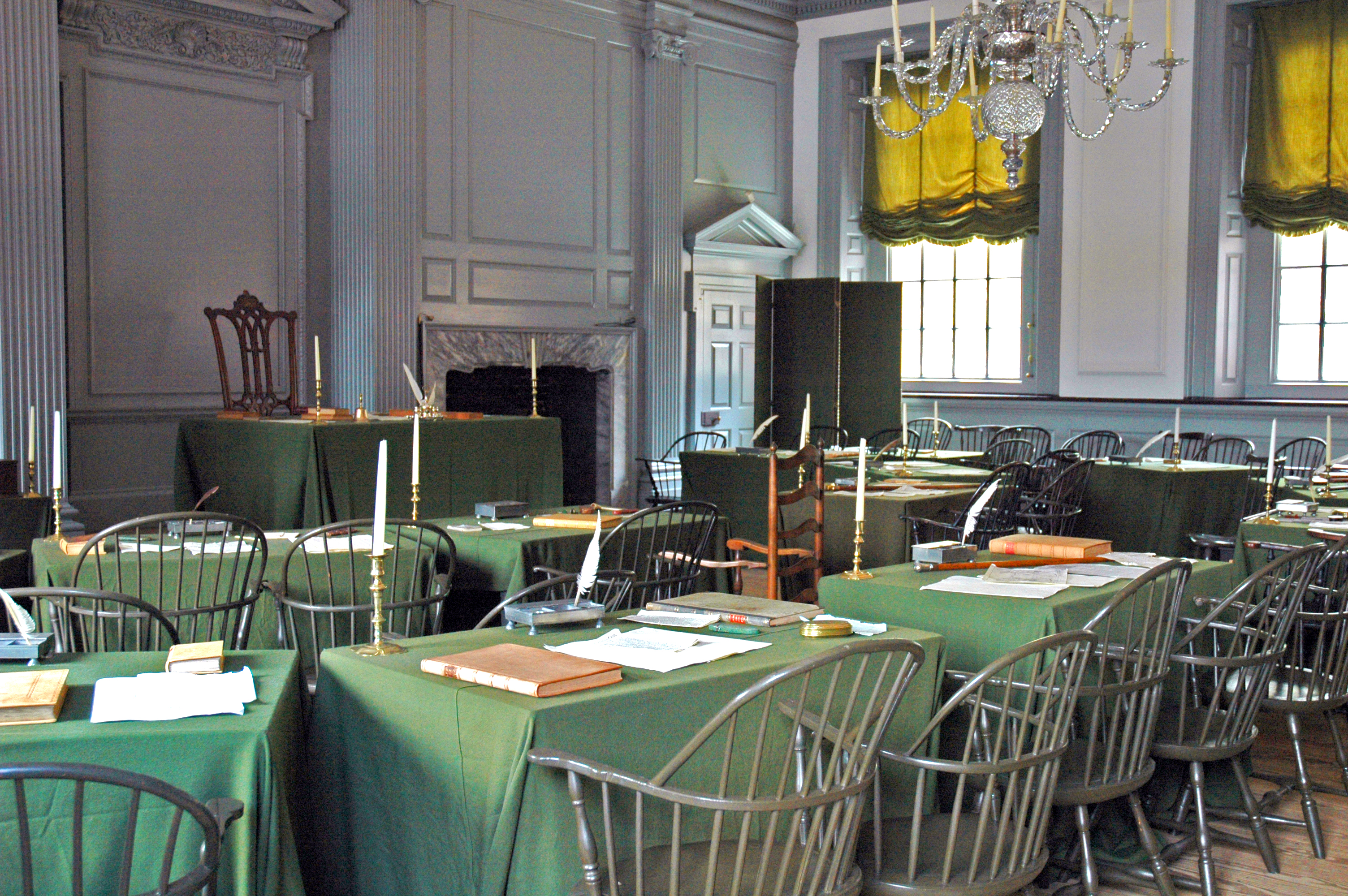 The Assembly Room, in Philadelphia's Independence Hall, where the Second Continental Congress drafted and signed the United States Declaration of Independence. Photo taken on April 25, 2005.