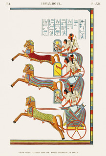 Great Speos: vestibule, south wall, lower row, painting of southwest corner from Monuments de l'Égypte et de la Nubie (1835-1845) by Jean François Champollion (1790-1832). Digitally enhanced by rawpixel.