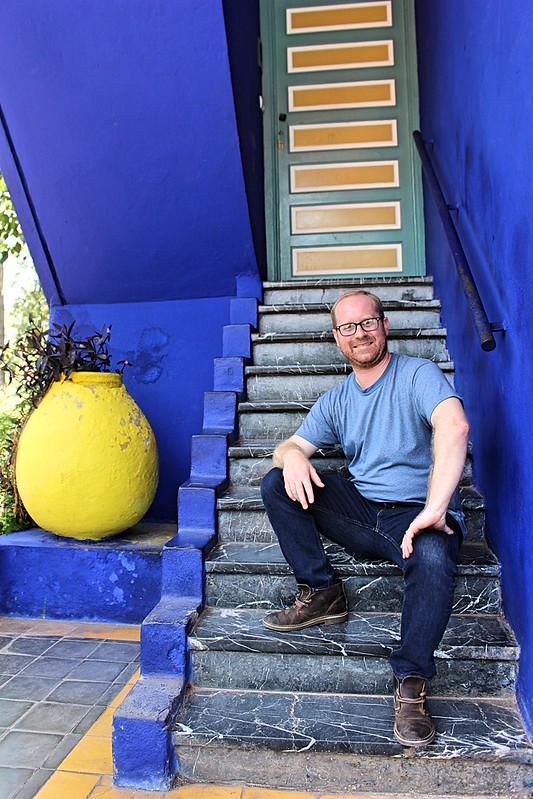 Matt on the majorelle steps