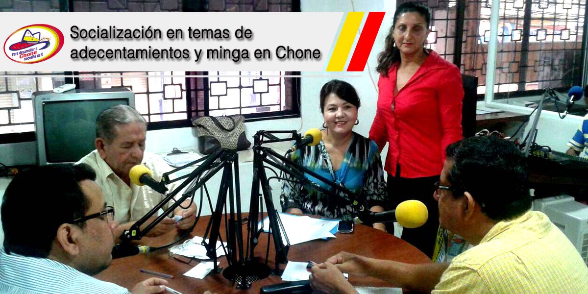 Socialización en temas de adecentamientos y minga en Chone