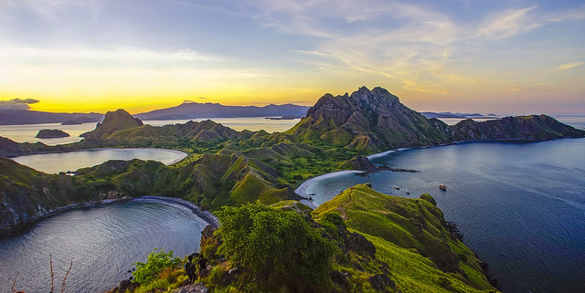 Padar Island during magnificent sunset.