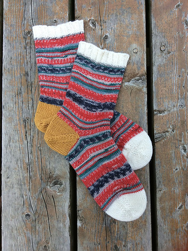 Carrie's Second First Toe-Up Socks with Afterthought Heel (Magic Loop) by Susan B Anderson