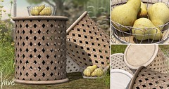hive // basket of pears + carved wooden table set | fifty linden friday