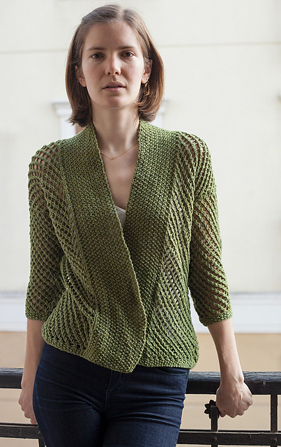 Eyelet Harvest Cardigan by Urth Yarns knit by UrthYarnCS