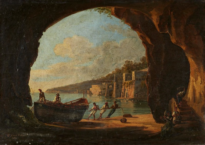Consalvo Carelli - Grotto on the Gulf of Naples with a View of the Sea (1842)