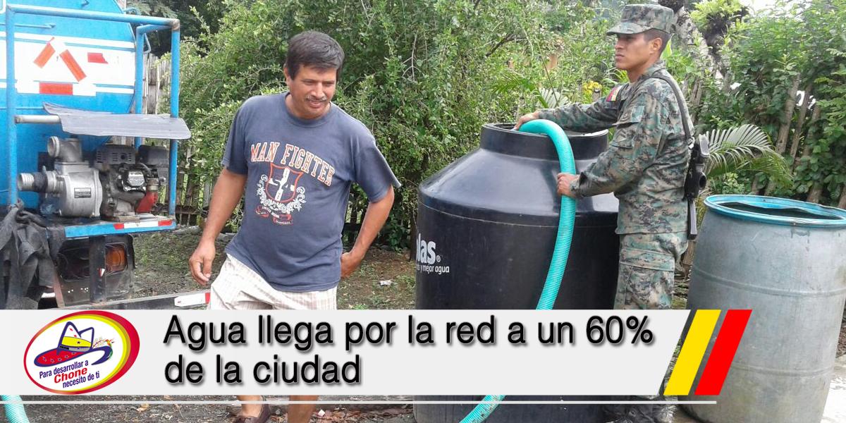 Agua llega por la red a un 60% de la ciudad