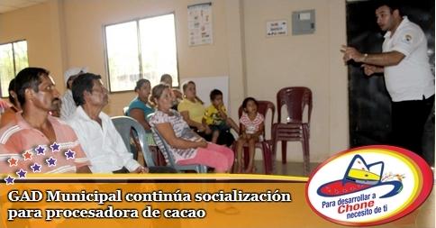 GAD Municipal continúa socialización para procesadora de cacao