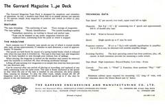 Garrard Magazine Tape Deck Leafleta