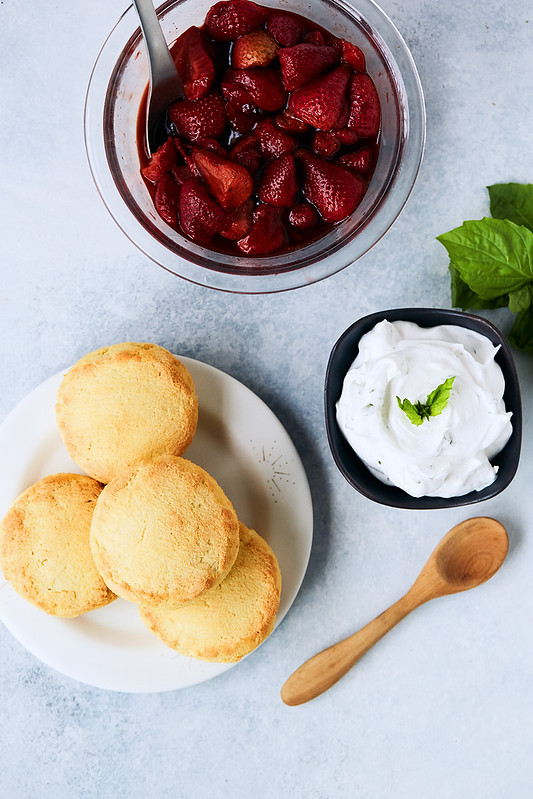 Keto Strawberry Shortcake with Balsamic Roasted Strawberries and Basil Infused Coconut Cream {gluten-free, paleo}