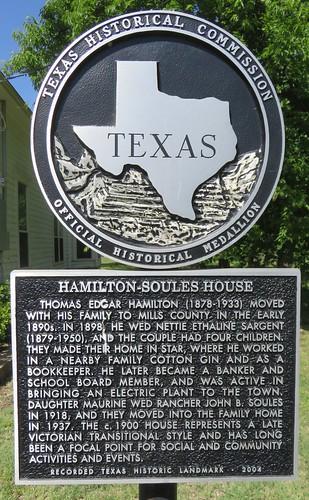 Hamilton-Soules House Marker (Star, Texas)