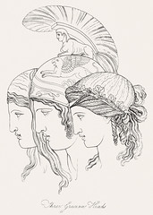 Three Grecian heads from An illustration of the Egyptian, Grecian and Roman costumes by Thomas Baxter (1782-1821).Digitally enhanced by rawpixel.