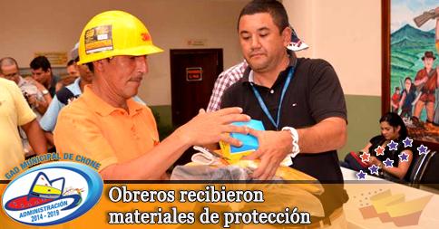 Obreros recibieron materiales de protección