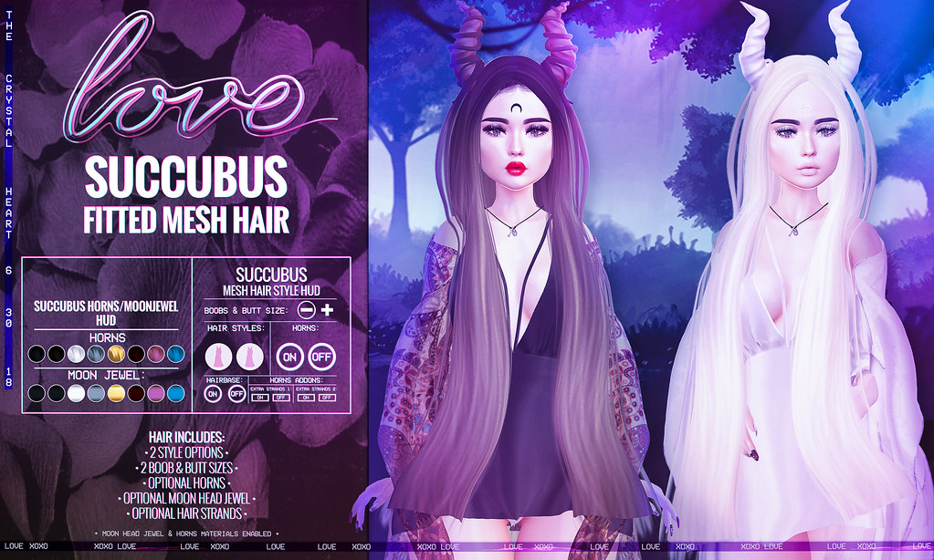 Love [Succubus] Fitted Mesh Hair @ The Crystal Heart!