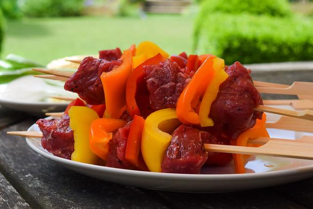 Barbecue Steak Skewers #barbecue #grilling #steak #skewers #kabobs #chimichurri