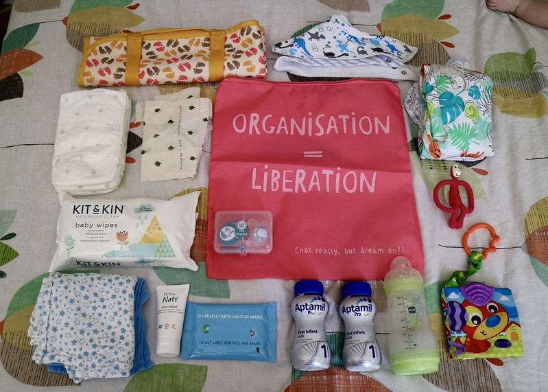 Baby changing bag contents