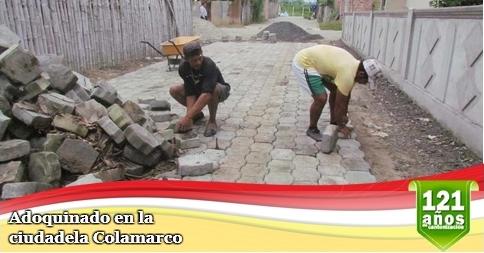 Adoquinado en la ciudadela Colamarco