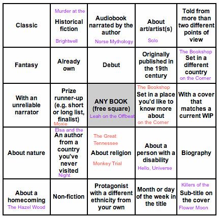 2018 Book Bingo August 1