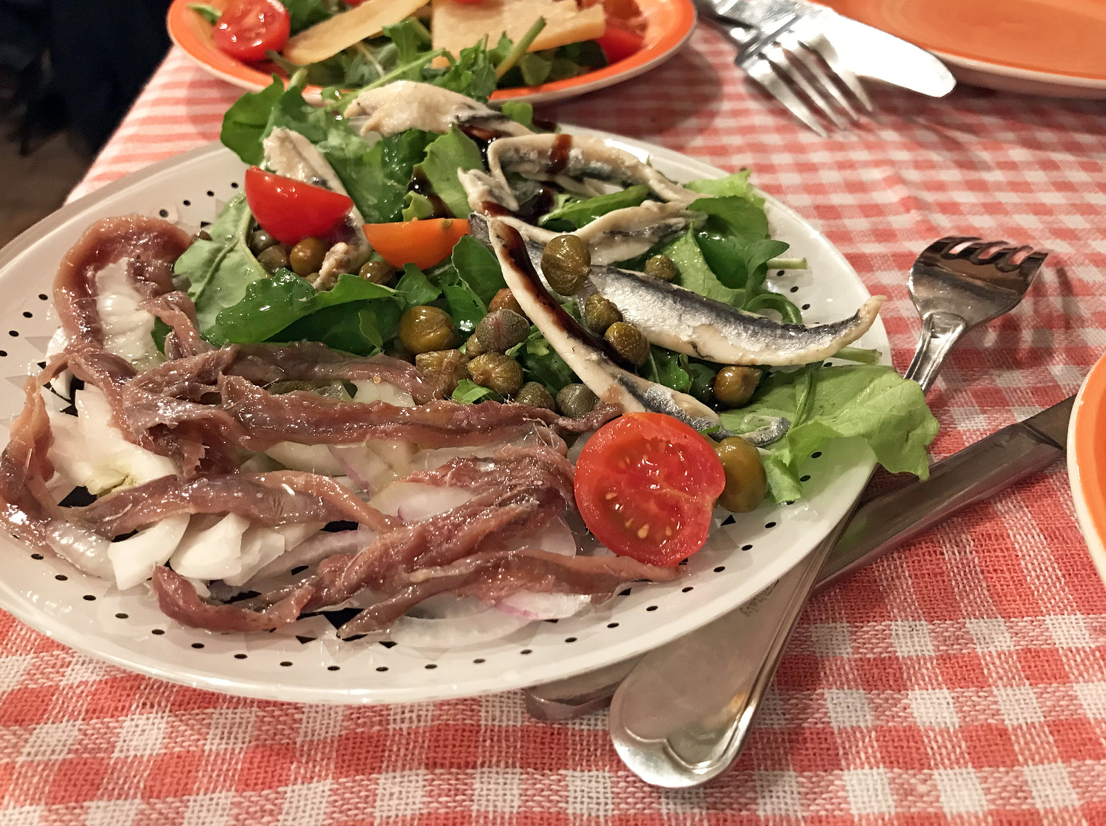 Salted and marinated anchovies at Villa Spiza