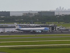 USAF Boeing VC-25 Air Force One Tampa Airport webcam capture