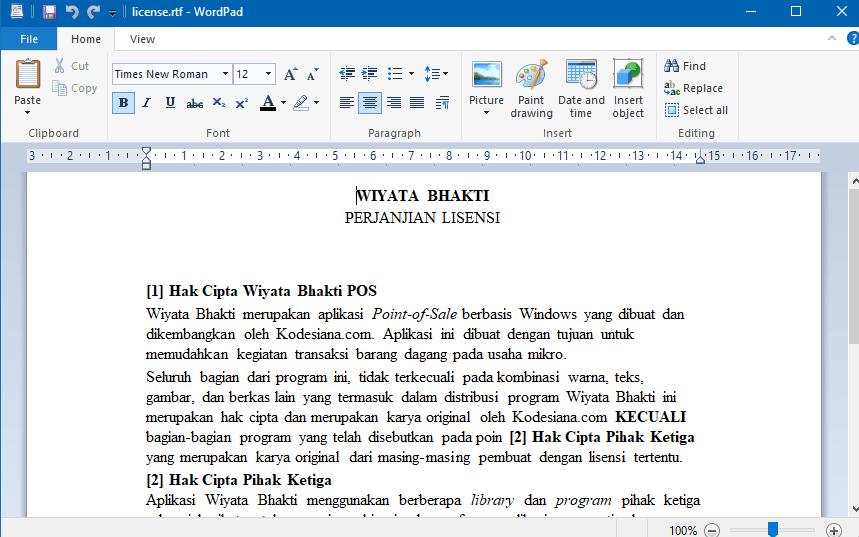 Edit Lisensi Menggunakan WordPad