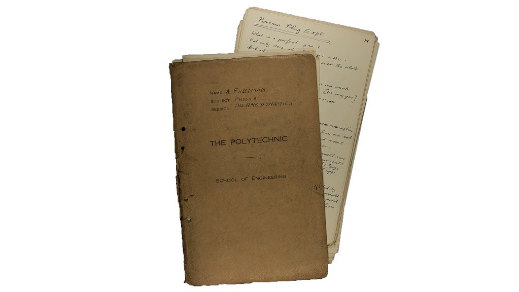 Exercise book containing physics notes, nd c 1935-1940 (Freedman A/70)